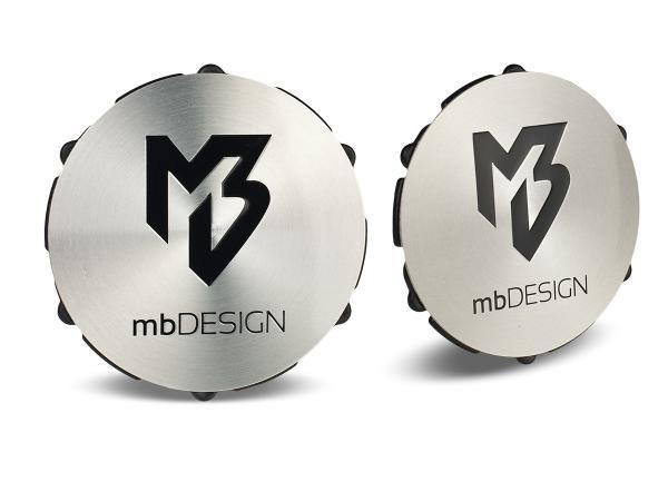mbDESIGN Nabendeckel 69,00mm - poliert glanz Logo schwarz poliert
