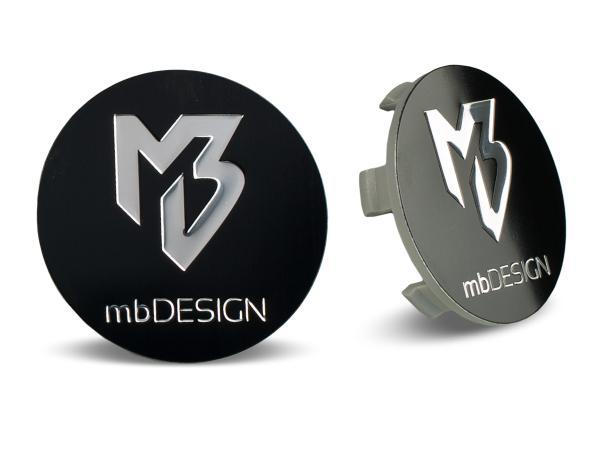mbDESIGN Nabendeckel 60,00mm - schwarz glanz Logo poliert