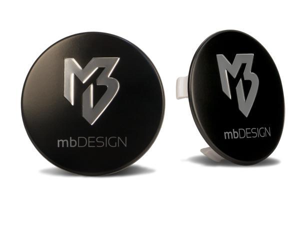 mbDESIGN Nabendeckel 69,00mm - schwarz matt Logo poliert