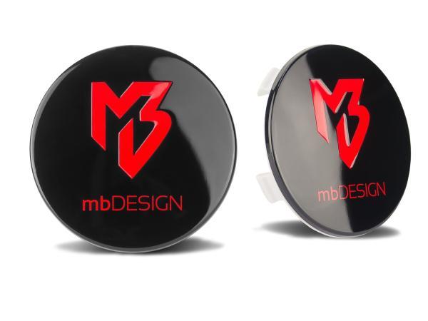 mbDESIGN Nabendeckel 69,00mm - schwarz glanz Logo rot