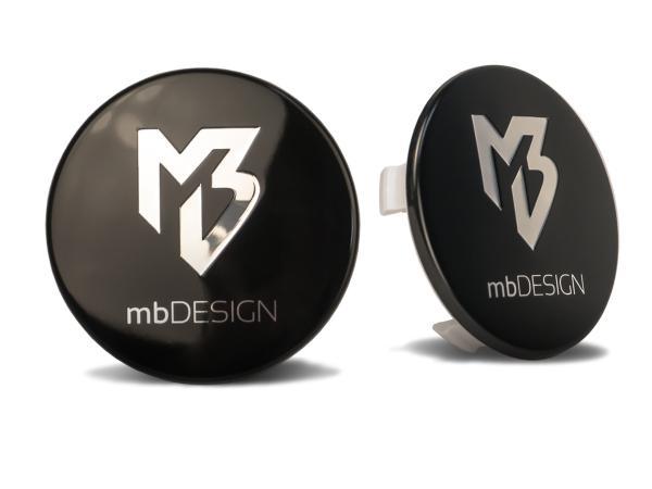 mbDESIGN Nabendeckel 69,00mm - schwarz glanz Logo poliert