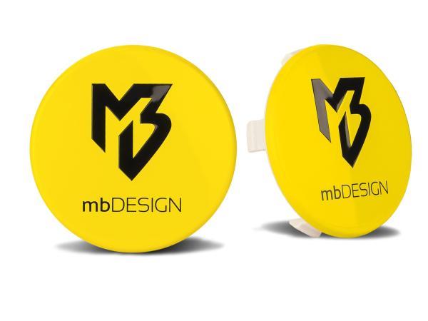 mbDESIGN Nabendeckel 69,00mm - gelb glanz Logo schwarz