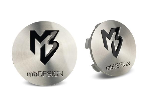 mbDESIGN Nabendeckel 60,00mm - poliert glanz Logo schwarz poliert