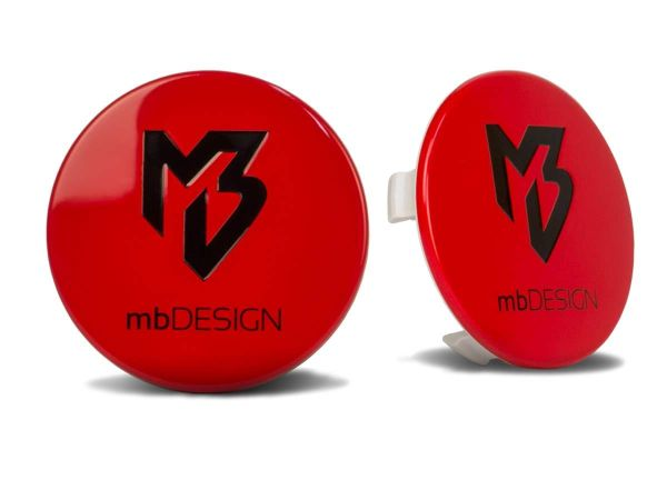 mbDESIGN Nabendeckel 69,00mm - rot glanz Logo schwarz