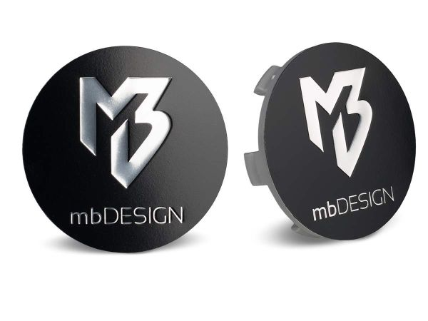 mbDESIGN Nabendeckel 60,00mm - schwarz matt Logo poliert