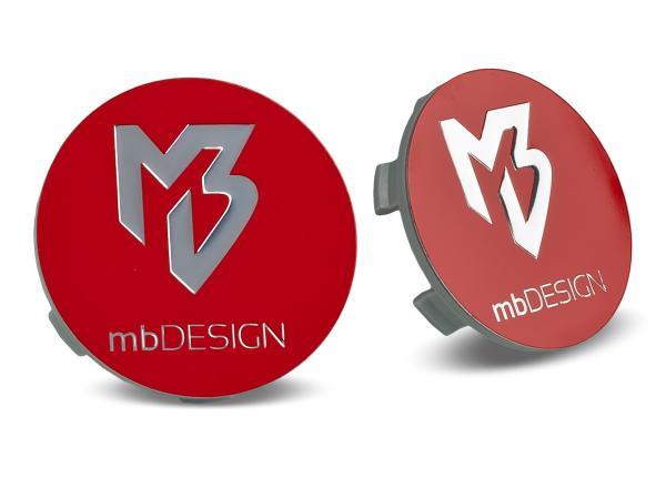 mbDESIGN Nabendeckel 60,00mm - rot glanz Logo poliert